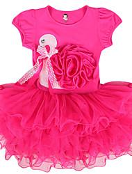 Robe Fille de Fleur Décontracté / Quotidien Coton / Spandex Eté / Printemps / Automne Rose / Rouge / Blanc