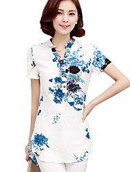 Summer/Fall Casual/Daily/Cute/Plus Size Women's Tops V Neck Short Sleeve Fashion Printing Slim Blouse Shirt