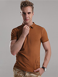 Mr D® Men's Shirt Collar Short Sleeve T Shirt Blue / Brown / Light Gray-6772