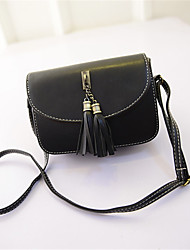 Women PU Casual Tassel Handbag Shopping Shoulder Bag