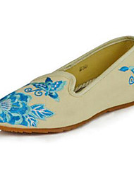 Women's Shoes Canvas Spring / Summer / Fall Mary Jane / Comfort Flats Casual Flat Heel Flower Black / Blue/Beige Walking