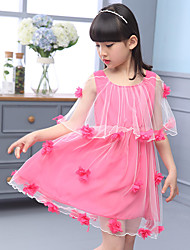 A-line Knee-length Flower Girl Dress - Tulle / Polyester Short Sleeve Scoop with Flower(s)