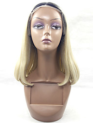 Synthetic Glueless Lace Front Wig Ombre Blonde Lace Front Wig Middle Length Wigs for Women