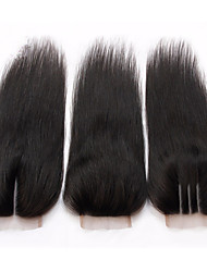 8A 4*4 Lace Closure 100% Malaysian Baby Virgin Human Hair Silk Straight Natural Black