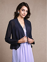 Women's Wrap Coats/Jackets Long Sleeve Chiffon Dark Navy Party/Evening Scoop Scales Open Front