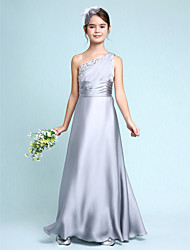 Lanting Bride Floor-length Chiffon Junior Bridesmaid Dress Sheath / Column One Shoulder with Side Draping / Ruching
