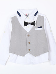Boy's Casual/Daily Striped Suit & BlazerCotton Blue / Gray