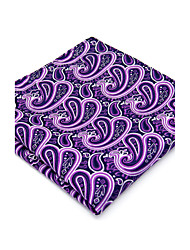 100% Silk Purple Paisley For Men Pocket Square New Men's Handkerchief Jacquard Woven Dress Business