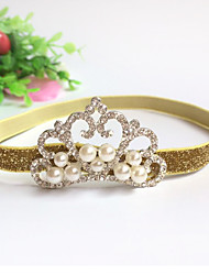Korean Flower Girl's Fabric Tiaras Pearl Headbands