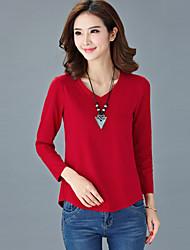 Mulheres Camiseta Formal Simples Verão,Sólido Azul / Vermelho / Branco / Preto / Marrom / Roxo Algodão Decote V Manga Longa Fina
