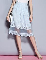 patchwork saias azuis das mulheres Sybel, simples / street midi chique