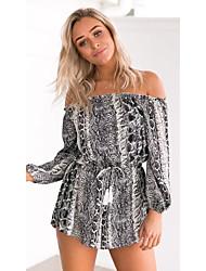 Women's Print Black Jumpsuits,Simple Boat Neck Short Sleeve