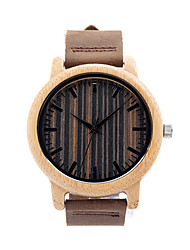 Men's Couple's Fashion Watch Wrist watch Wood Watch Quartz / Leather Band Casual Brown Brown