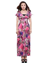 plus size boho bainha do vestido, imprimir v pescoço maxi verão de manga curta das mulheres (não incluindo parte superior do tubo)