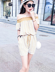 Women's Patchwork Yellow Jumpsuits,Simple Boat Neck Short Sleeve