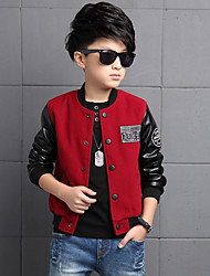 Boy's Cotton Spring/Autumn/Winter Fashion Patchwork Pu Leather Outerwear Baseball Jacket Sport Coat