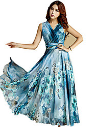 BORME® Women's V Neck Sleeveless Bohemia Floral Print Maxi Dress-J503B