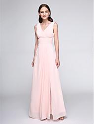 Floor-length Chiffon Elegant Bridesmaid Dress - Sheath / Column V-neck with Criss Cross / Ruching