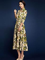 BORME® Femme Col en V Manches 3/4 Maxi Robes-LYQ003CR