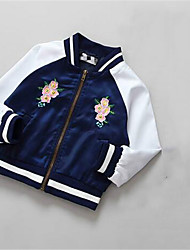 Girl's Casual/Daily Print Jacket & Coat,Cotton Spring / Fall Blue
