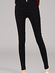 Women's Solid Black Jeans Slim Pants,Simple