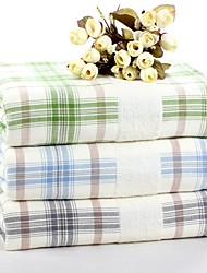 "1 PC Full Cotton Thickening Bath Towel 27"" by 55"" Super Soft Plaid Pattern"