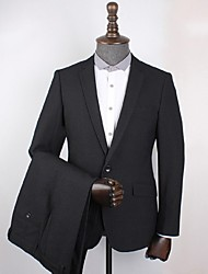 Suits Standard Fit Notch Single Breasted One-button Polyester Checkered / Gingham 2 Pieces Black Slanted Flapped
