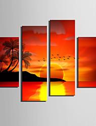 toile set Paysage Style européen,Quatre Panneaux Toile Verticale Imprimer Art Décoration murale For Décoration d'intérieur