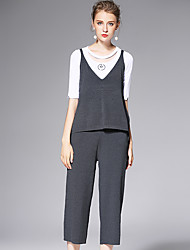 AFOLD® Women's Mid Rise Straight Black / Gray Casual Pants-6022suit