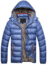 Men's Regular Padded Coat Casual/Daily Solid-Polyester Without Filling Material Long Sleeve