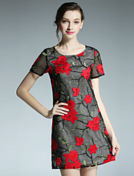 вскользь / ежедневно марочные смена одежды klimeda женщин, вышитые вокруг шеи выше колена с коротким рукавом полиэстера летом