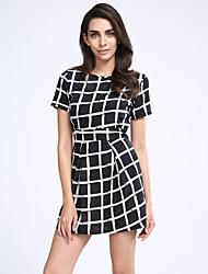 Casual Women Dress Slim Short Sleeved Plaid Print Bodycon Dresses