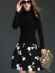 Women's Casual/Daily Simple A Line Dress,Floral Crew Neck Above Knee Long Sleeve Black Cotton Fall