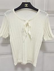 Damen Kurz Pullover-Ausgehen / Lässig/Alltäglich Sexy / Niedlich / Street Schick Solide Weiß Rundhalsausschnitt Kurzarm BaumwolleSommer /