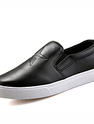 Men's Shoes Leatherette Casual Sneakers Casual Walking Flat Heel Others / Hook & Loop Black / White