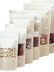 direto da fábrica kraft sacos de papel kraft janela ziplock pé sacos de um pacote de dez alimentos