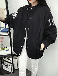 Women's Casual/Daily Simple Spring / Fall Jackets,Solid Shirt Collar Long Sleeve White / Black Polyester Medium
