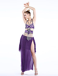 Belly Dance Outfits Women's Performance / Training Chiffon / Chinlon / Spandex / Polyester Beading