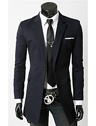 Men's Solid Casual Blazer,Polyester Long Sleeve Black / Blue / Gray