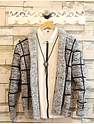 Men's Plaid Casual Cardigan,Cotton / Polyester Long Sleeve Black / Gray