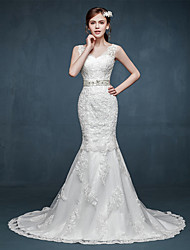 Trumpet / Mermaid Wedding Dress Sweep / Brush Train V-neck Tulle with Appliques / Beading / Sash / Ribbon
