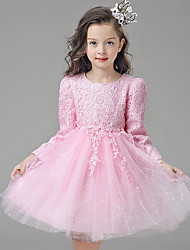 A-line Knee-length Flower Girl Dress - Lace / Satin / Tulle Long Sleeve Jewel with Appliques / Lace