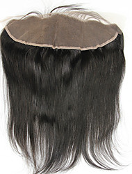 130% Density Brazilian Straight Human Hair Lace Frontal Closure 13x4 Free Part Bleached Knots Baby Hair