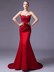 2017 trompete formal, vestido de noite / namorada tribunal sereia trem rendas / cetim com beading / rendas