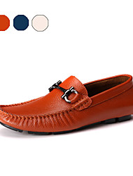 Men's Spring / Summer / Fall Moccasin / Round Toe Leather Office & Career / Casual / Party & Evening Flat Heel Lace-upBlue / Brown /
