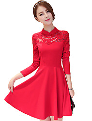 Mulheres Bainha Vestido,Casual Simples Patchwork Colarinho Chinês Acima do Joelho Manga Longa Vermelho / Preto Algodão Outono