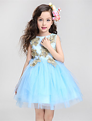 A-line Knee-length Flower Girl Dress - Cotton / Satin / Tulle Sleeveless Jewel with Appliques / Crystal Detailing