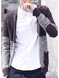 Men's Patchwork Casual Cardigan,Cotton Long Sleeve Black / Orange