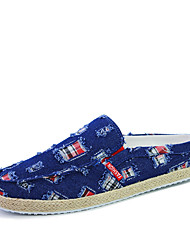 Men's Denim Upper Breathable Casual Flats Slip-on Shoes for Beach Or Trip