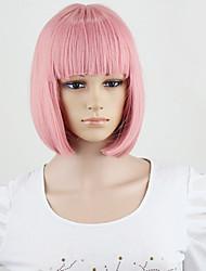perucas de moda mulheres partido sexy curto, médio fumo da cor-de-rosa de cabelo sintético peruca completa novo estilo